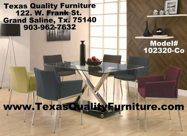GLASS TOP DINING ROOM TABLE WITH 6 MULTI COLOR CHAIRS   TEXAS QUALITY FURNITURE com