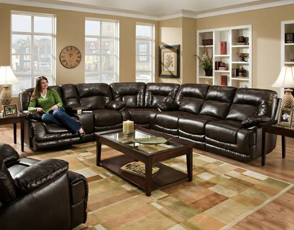 THIS BEAUTIFUL BONDED LEATHER SECTIONAL IS ONLY - $1599 (Sleep Authority-Tyler 903-787-7283)