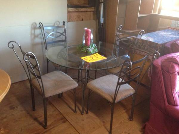Glass Top Table And 4 Chairs    -   x0024 250  Jennifer s Lucky Findz   White Oak