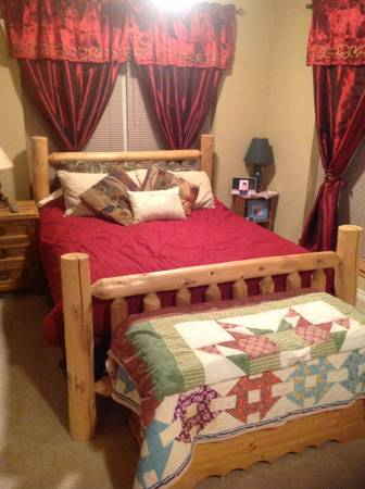 Queen size Pine Log bed wmattress and box springs - $650 (Center, tx)