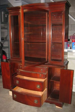 1950 China CabinetHutch MADE IN USA - US MADE WALNUT CHINA HUTCH - $650 (Tyler)