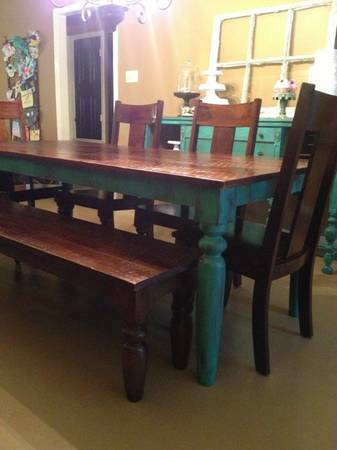 World Market Farm Table, Bench 4 Chairs - $900