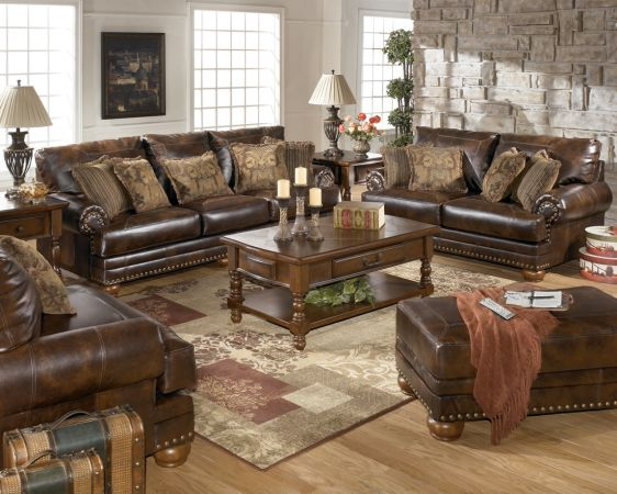 NEW BEAUTIFUL BROWN  NAILHEAD LEATHER SOFA  LOVESEAT OR SECTIONAL - $949 (WE DELIVER CALL NOW TO PLACE ORDER)