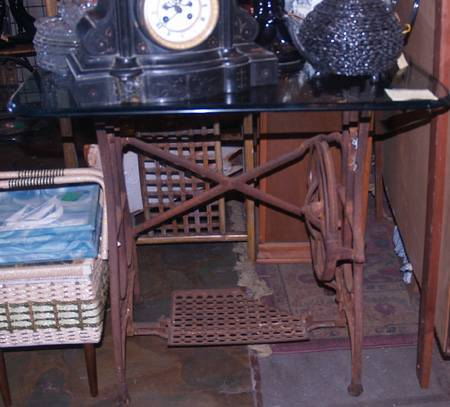 Vintage Iron Singer Sewing Base Bottom with Glass Top ( Table ).  - $90 (Tyler)