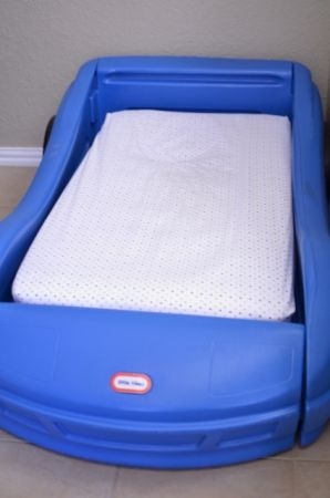 Blue Little Tikes Race Car Bed wMattress - $75 (Emory, Texas)