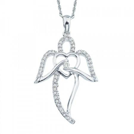 10k white gold angel necklace -   x0024 500  Gilmer