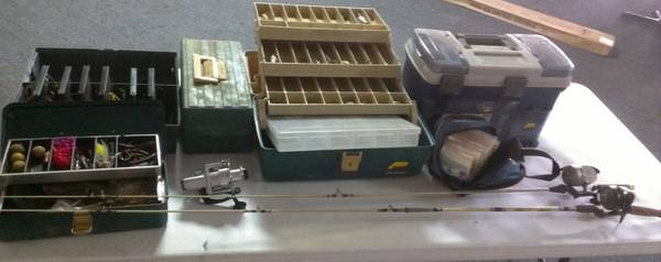 Fishing gear w Plano boxes, rods, reels, vintage lures - $125 (Marshall)