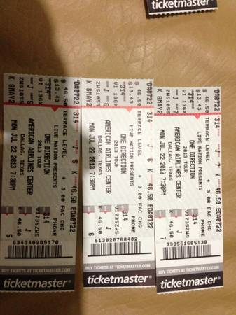 3 tickets one direction july 22 AA dallas - $600 (AA dallas tx)