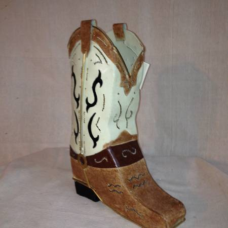 Metal Western Boot Candle Holder -   x0024 10  tyler tx