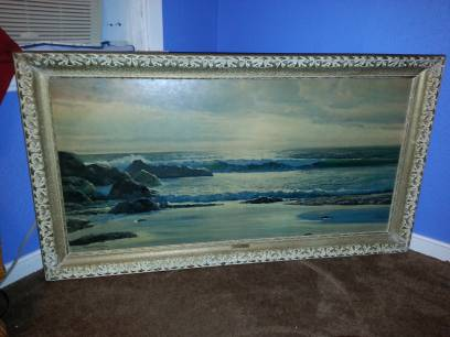 large painting by Robert Wood titled Breakers at Twilight. very beautiful. - $45 (Robinson)