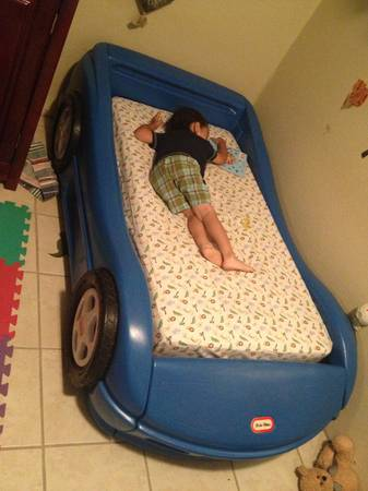 Toddler blue race car bed and mattress - $75 (Tyler, tx)