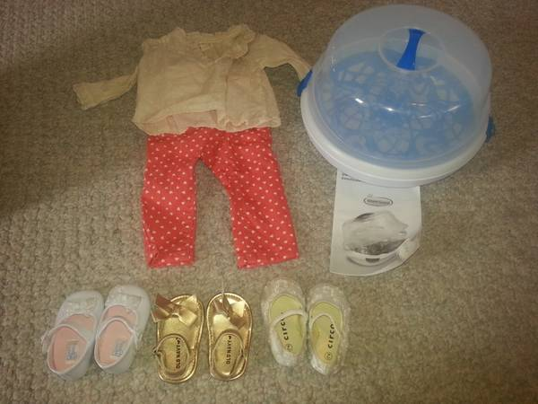 Microwave bottle steamer  size 2 shoes and size 1 shoes and adorable outfit  Jacksonville