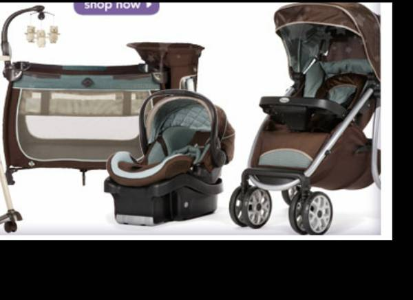 Pack Play with matching stroller car seat and bases - $275 (Chapel Hill)