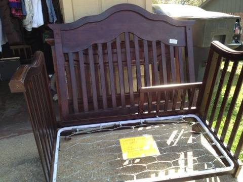 3-1 dark cherry wood crib - $175 (South tyler)