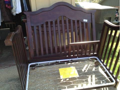 3-1 dark cherry wood crib  - $200 (Tyler)