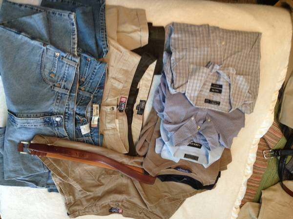 Mens Wardrobe size L-XL shirts and 36-38X30 pants - $75 (Tyler)