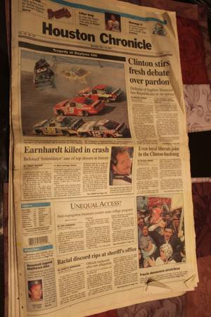 Dale Earnhardt Crash Newspaper -   x0024 1  south tyler