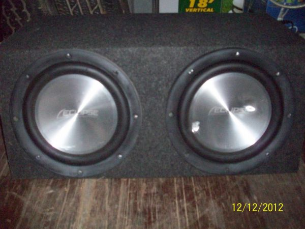 2 Eclipse Aluminum 12 Subwoofers w Enclosed Wooden Box - $100 (Tyler, TX)