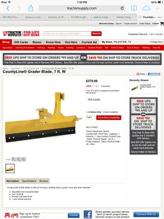 Back blade 7ft 3pt tractor supply - $150 (Palistine,  tx)