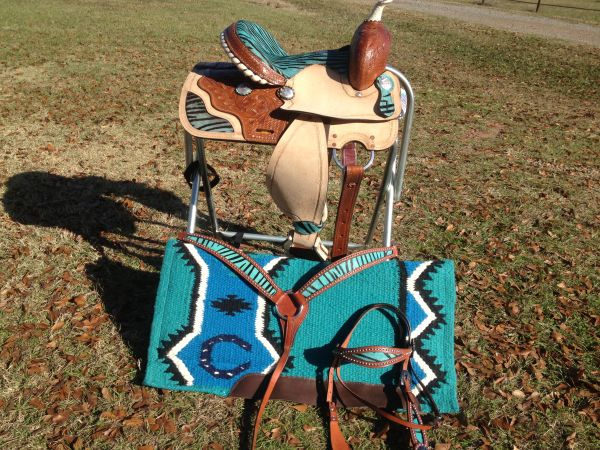 13 saddle with zebra print tack set
