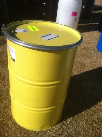 55 GALLON DRUM BARREL WITH LID CLAMP PLASTIC GALVANIZED METAL - $25 (CAMPBELL, TX)
