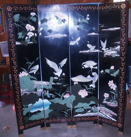 6 Ft 4 Fold Panel Oriental Room Divider Screen Black Lacquer 2 Sided - $130 (East Texas)