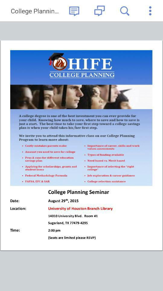 College planning program for high school students