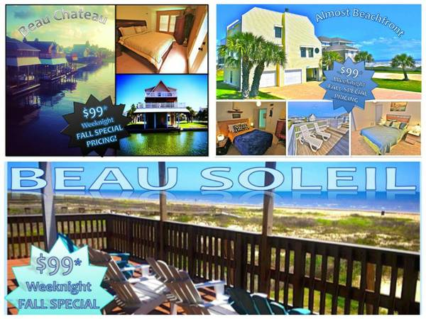 $99 Sunday-Thursday Night Galveston Vacation Rentals