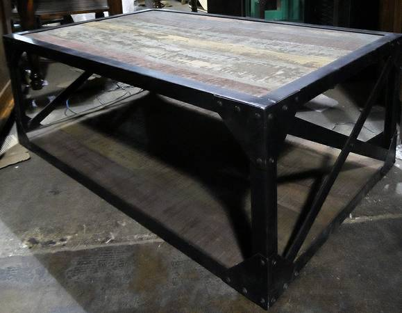 Iron and Wood Industrial Coffee Table - $451 (Nadeau - Furniture With a Soul)