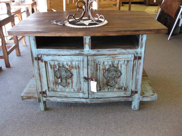 RUSTIC TURQUOISE TV STAND - x0024298 (CONROE)