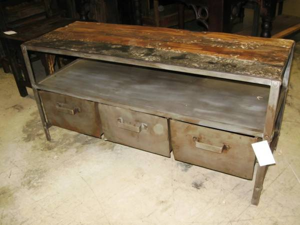 3 Drawer Vintage Industrial Coffee Table - $334 (Nadeau - Furniture With a Soul)