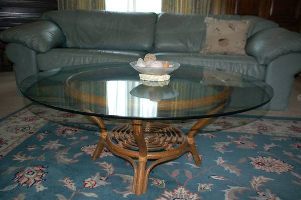 42 rattan glass coffee table - $75