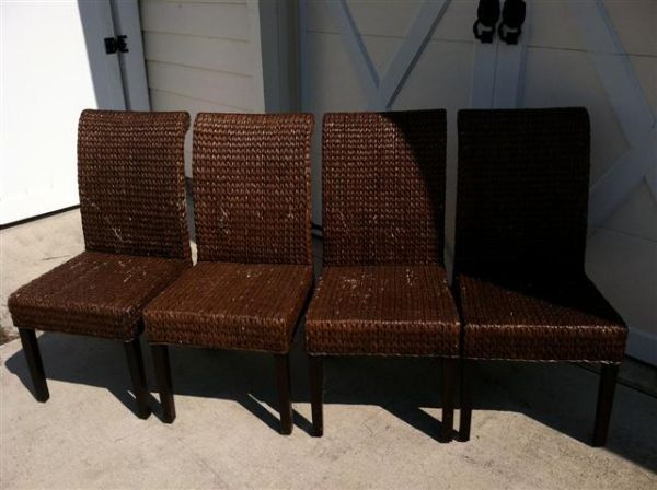 4 Pier 1 Banana Leaf Dining Chairs - $130 (GalvestonLa Marque)