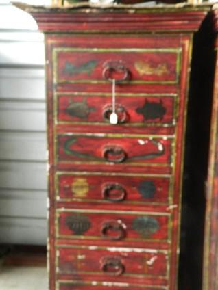 399  Teak Wood Linen Cabinet fuilly handpainted and antique