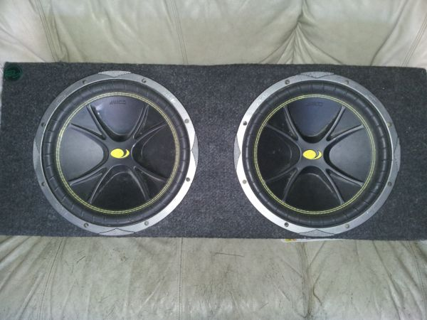 Two 12in KICKER Competition Edition speakers already in speaker box. - $70 (Texas City,Texas)
