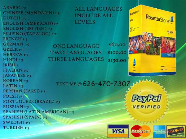 ROSETTA STONE MANY LANGUAGES TO CHOOSE FROM  -   x0024 60  SHIPPING ONLY