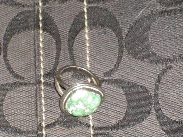 Turquoise and sterling silver ring 4-1 2  -   x0024 35