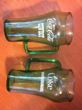Vintage Coca Cola Whataburger Cowboy glasses mug - x002470 (Seabrook Kemah Dickinson)