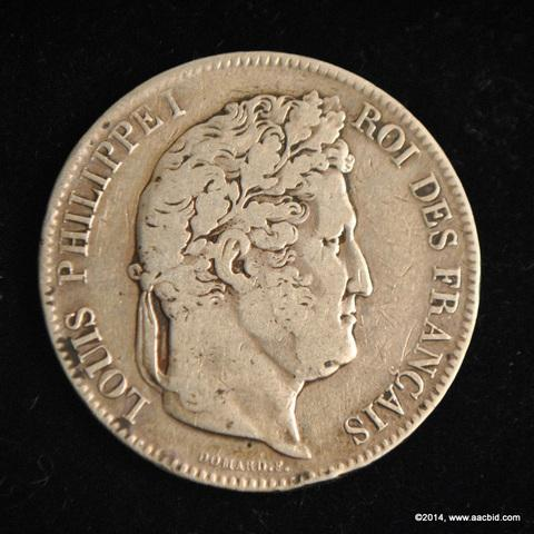 1833W France Silver 5 Francs Coin Louis Philippe I