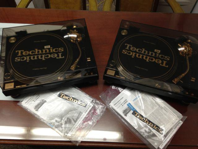Pair of Technics SL-1200GLD 30th Anniversary Limited Edition Turntables