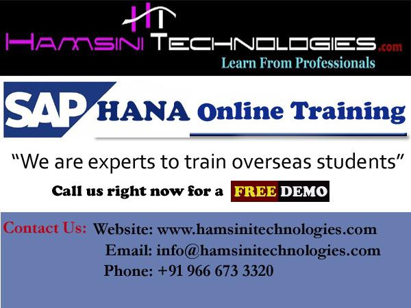 SAP HANA Live Online Training by Industry Experts