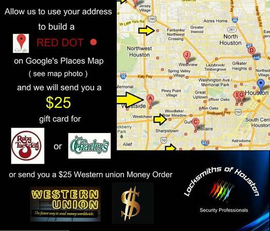 FREE--$25 Ruby Tuesday Gift Cards--FREE--$25 for Pizza Hut-- (Houston)