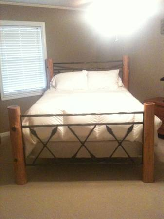 Queen Size bed w log frame complete dresser with mirror etc - $650 (Houma)