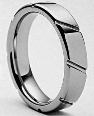 Stainless Steel Men s Wood Inlay Ring  -  64  Houma