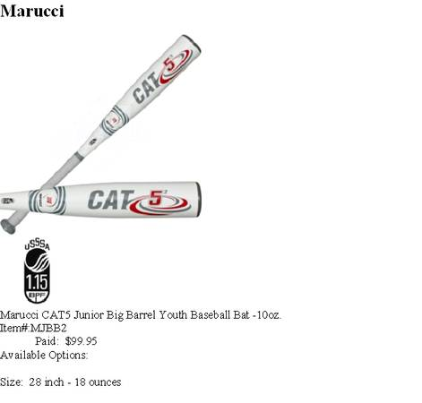 Brand New Baseball Bat - Marucci Cat 5 Size 28inch18ounce - $75 (Houma)