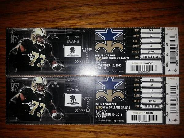 DALLAS COWBOYS VS NEW ORLEANS SAINTS TICKETS - $400 (IBERVILLE PARISH)