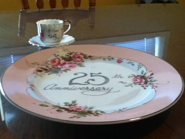 25th Anniversary Plate  Cup and Saucer -   x0024 20  Houma  La