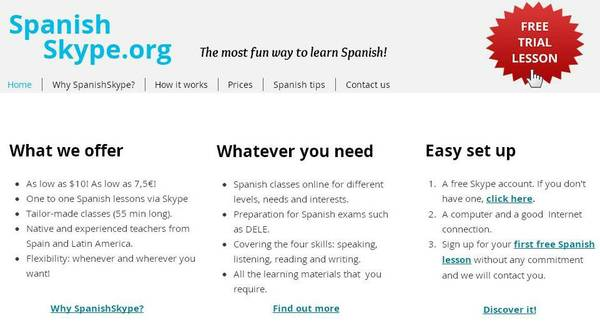 SPANISH classes SKYPE  Qualified and native teachers Firsy free lesson