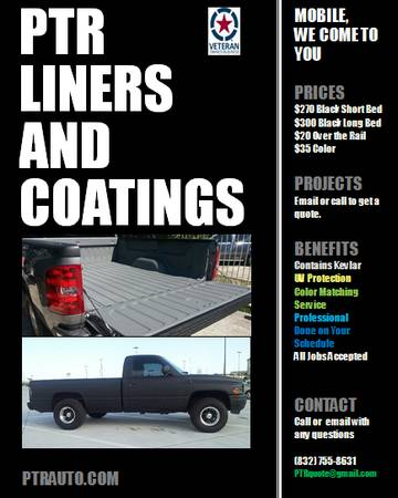 SCHEDULE YOUR SPRAY IN BED LINER TODAY (Houston TX)
