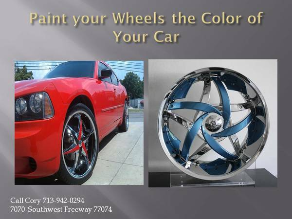 Custom Wheel Painting Match your wheel to the color of your Car (Call Cory 713-357-6040)